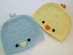 Baby Chick or Baby Bird Hat This crochet pattern / tutorial is available for free. Full post: Baby Chick or Baby Bird Hat Easter Crochet Patterns, Crochet Kids Hats, Cute Crochet, Crochet Crafts, Baby Patterns, Easy Crochet, Crochet Projects, Knit Crochet, Crochet Beanie