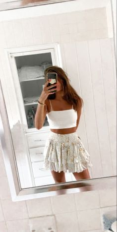 Preppy Summer Outfits, Cute Comfy Outfits, Girly Outfits, Pretty Outfits, Stylish Outfits, White Girl Outfits, Casual Summer Outfits For Teens, Summer School Outfits, Outfit Summer