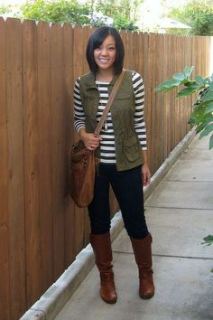black + white stripes / olive utility vest / dark skinnies / cognac boots // member Audrey of Putting Me Together