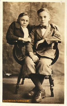 Johnny and his twin brother Bob shown here in a 1920's real photo postcard