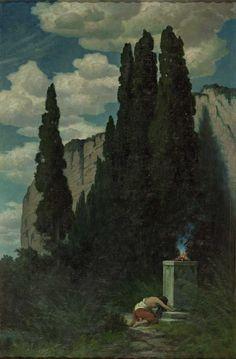 Fire altar by Hermann Traugott Rüdisühli Dark Artwork, Romanticism, Sacred Art, Landscape Art, Great Artists, Impressionism, New Art, Amazing Art, Fendi