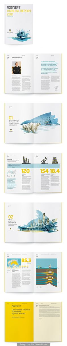 """Rosneft"", Annual Report 2011 by Viktor Miller-Gausa. - a grouped images picture - Pin Them All Editorial Design Layouts, Layout Design, Design Typo, Web Design, Print Layout, Graphic Design Layouts, Branding, Magazin Design, Booklet Design"