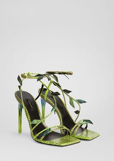 Versace Antheia Leaf Sandals for Women Green Sandals, Green Heels, Pumps, Shoes Heels, Heels Outfits, Sandal Heels, Versace Sandals, Versace Boots, Expensive Shoes