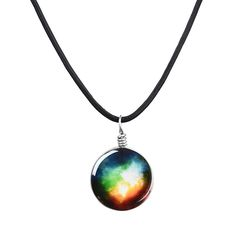 Duplex Planet Collares Crystal Stars Ball Glass Galaxy Pattern Leather Chain Pendants Maxi Necklace For Womem Girlfriend Gift By Scientific Process Necklaces & Pendants