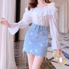 Korean Fashion Dress, Kpop Fashion Outfits, Girls Fashion Clothes, Edgy Outfits, Mode Outfits, Girl Outfits, Fashion Dresses, Korean Dress, Ulzzang Fashion Summer
