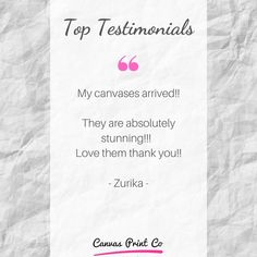 """Top Testimonials from our happy customers ❤️ """"My canvasses arrived! They are absolutely stunning! Framed Prints, Canvas Prints, My Canvas, Wood Print, Absolutely Stunning, Happy, Tops, Photo Canvas Prints, Shell Tops"""