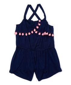 Look what I found on #zulily! Midnight & Neon Pink Pom-Pom Alba Romper - Toddler & Girls #zulilyfinds