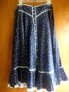 Jessica's Gunnies San Francisco Skirt Vintage Prairie Dark Blue Flower Lace | eBay