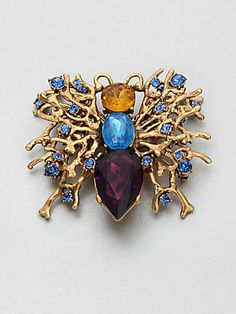 Oscar de la Renta Stone Accented Abstract Pin