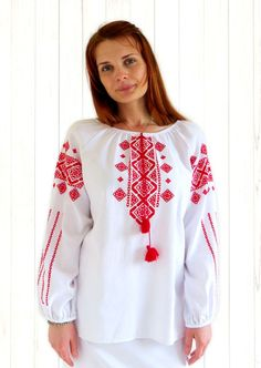"Long Sleeve Ladies Embroidered Blouse ""Classical Kiev Enhanced"" stylishdiscoveries.com.au"