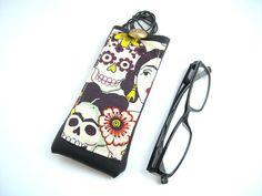 Frida Kahlo glasses case, faux leather vinyl eyeglass holder with necklace lanyard, reading eyewear case, Frida sugar skull, floral skeleton http://etsy.me/2jnixJ9