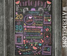 Birthday Chalkboard for the Birthday Girl's Birthday Party - Girl Multi - Custom Birthday Chalkboard - Girlie Birthday Brag Board - Digital Rainbow First Birthday, Baby Girl 1st Birthday, Birthday Board, Baby Birthday, First Birthday Parties, First Birthdays, Hipster Birthday, Birthday Ideas, First Birthday Chalkboard