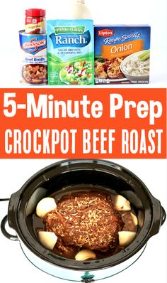 Crockpot Roast Recipes - Easy Beef Slow Cooker dinner the whole family will LOVE! With just 5 minutes of prep, you wont believe how simple this is to make, too! Go grab the recipe and give it a try this week! Easy Crockpot Roast, Roast Recipe Easy, Roast Beef Recipes, Slow Cooker Recipes, Cooking Recipes, Summer Roast Recipes, Recipes Dinner, Roast Beef Slow Cooker, Slow Cooker Summer Recipes