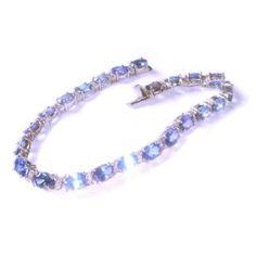 Tanzanite & Diamond Bracelet in 14K White Gold: