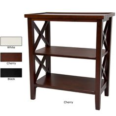 @Overstock - Wood 26-inch Architectural Bookcase Table (China) - With a solid construction, this bookcase features criss-cross framework side panels. The table top surface of this bookcase has a slight lip around the edge while lower shelves are flat.  http://www.overstock.com/Worldstock-Fair-Trade/Wood-26-inch-Architectural-Bookcase-Table-China/6325340/product.html?CID=214117 $168.00