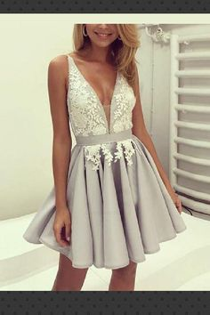 Ball Gown Prom Dress, A line Prom Dresses, Silver A-line Princess Party Dresses, A-line Short Prom Dresses, 2018 Homecoming Dress V-neck Silver Appliques Short Prom Dress Party Dress Prom Dresses Girl Cute Homecoming Dresses, V Neck Prom Dresses, A Line Prom Dresses, Grad Dresses, Cheap Prom Dresses, Prom Party Dresses, Sexy Dresses, Evening Dresses, Dress Prom