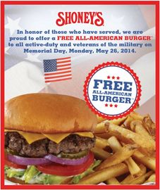 FREE All-American Burger at Shoney's for All Military Personnel on 05/26 on http://hunt4freebies.com