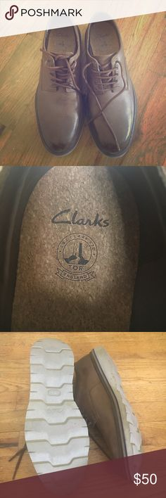 Clarks men's shoes size 12 These are like new- my husband needed s bigger size, they are medium/dark brown with cork insoles. Really nice shoes they were  170 new Clarks Shoes Oxfords & Derbys