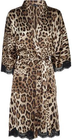 Dolce & Gabbana Leopardprint Stretchsilk Robe in Animal (leopard)