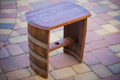 Reserved For Sarah- Reclaimed Recycled Wood Wine Barrel Bench End Table Seat