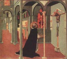 Il Sassetta (Stefano di Giovanni) - San Tommaso in preghiera davanti alla Croce (Predella polittico dell'Arte della Lana) - 1430-1432 - Pinacoteca Vaticana, Città del Vaticano