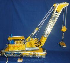 Meccano Railway Breakdown crane SML Super Model leaflet built with yellow and zinc parts. Hobby Toys, Retro Toys, Old Toys, Close Image, Crane, Arrow Keys, Hobbies, Vintage, Toys