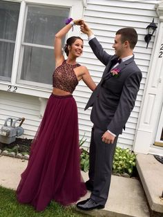 Gorgeous Burgundy Prom Dress Two Piece Evening Dress Beaded Prom Dresses Tulle