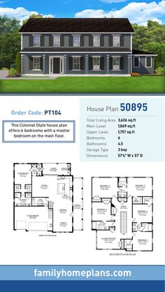 86 Best 6 Bedroom House Plans images | House plans, Bedroom ...  Bedroom House Plans Master On First on 3 bedroom house plans master on first, 6 bedroom house plans blueprints, 6 bedroom craftsman house plans, 6 bedroom single story ranch house plans,