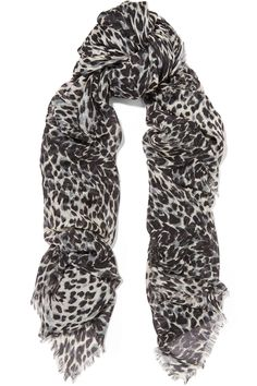 Saint Laurent Leopard-print cashmere and silk-blend scarf $750 Black, gray and beige cashmere and silk-blend 65% cashmere, 35% silk Dry clean Made in Italy     - This item's measurements are:     Length 135cm     Width 134cm