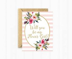 Will You Be My Flower Girl Striped Flower von MooseberryPaperCo