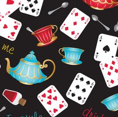 In Wonderland: Mad Tea Party fabric by jazzypatterns on Spoonflower - custom fabric