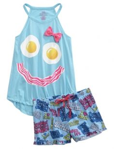 Stocking #justiceisgrowingonme Eggs & Bacon Pajama Set