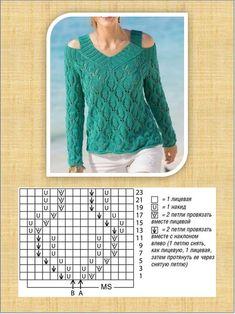Lace Knitting Patterns, Basic Crochet Stitches, Knitting Stitches, Free Knitting, Stitch Patterns, Crochet Blouse, Knit Crochet, Knit Fashion, Wool Fabric