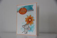 Scrapbooking elephant fleur orange