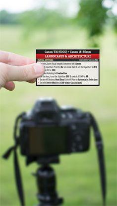 Canon Rebel T3i (EOS 600D) Landscape Photography Cheat Sheet