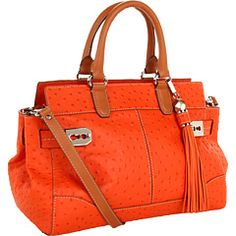 """How gorgeous is the Rafe """"Roopal"""" orange ostrich embossed leather satchel with vachetta handles and detachable shoulder strap. Available at @Zappos Couture of course!"""