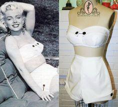 Marilyn Monroe White Pinup Bikini Swimsuit by Morningstar84, $145.00