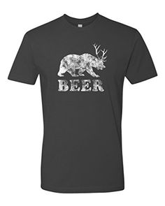 Panoware Men's Beer Bear Deer Funny T-Shirt Heavy Metal L