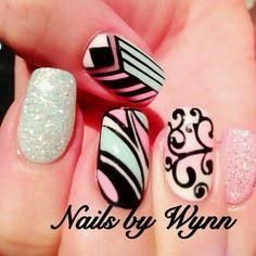 Pink black silver and blue glitter nailart #nailart #nails #black #pink #silver #blue #glitter