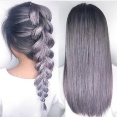 See this Instagram photo by @hotonbeauty •  gray hair colorful hair hair color braid