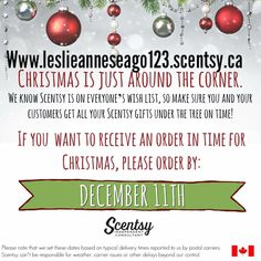 Get your orders in quick so they are here in time  for Christmas  Www.leslieanneseago123.scentsy.ca