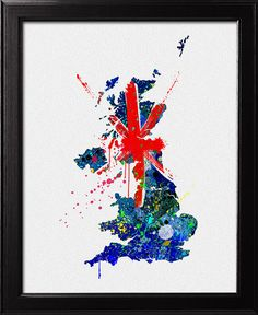 Map Of British Isles with Flag UK map freehand by Colortune, $20.00