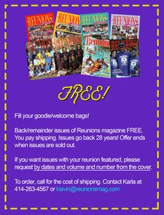Magazines, workbooks, much more for reunion planners! The Reunion, School Reunion, Family Reunion Favors, Family Reunions, Beginners Eye Makeup, Goodie Bags, Free Stuff, Magazine, How To Plan