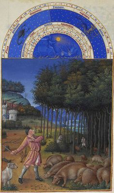 The illustration for November from Les Très Riches Heures du duc de Berry, manuscript illuminated by the Limburg Brothers, c. in the Musée Condé, Chantilly, Fr. Medieval Life, Medieval Art, Renaissance Art, Medieval Books, Medieval Manuscript, Illuminated Manuscript, Illuminated Letters, Walt Disney Pictures, Book Of Hours