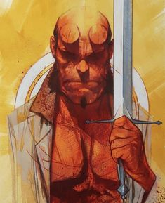Hellboy by Ben Oliver Rare Comic Books, Comic Books Art, Comic Art, Ben Oliver, Comic Layout, Dnd Art, Face Sketch, Book Cover Art, Book Art