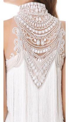 Marchesa gown - beaded neckline details - high neck dress wedding http://www.pinterest.com/JessicaMpins/