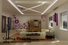 low celling design | cool fall ceiling designs for living room from gypsum with hidden ...