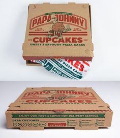 "Johnny Cupcakes x Papa John's Limited Edition ""Papa Johnny"" T-Shirt Custom Pizza Box Packaging Honey Packaging, Shirt Packaging, Bottle Packaging, Packaging Design, Product Packaging, Johnny T Shirt, Pizza Box Design, Homemade Shirts, Cupcake Packaging"