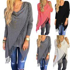Tops Shirt Slash Casual Blouse Tops Long Sleeve Solid Tassel Women Plus Size