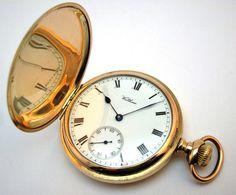 c1917 ANTIQUE WALTHAM TRAVELLER FULL HUNTER POCKET WATCH, GOLD /F KEYSTONE CASE